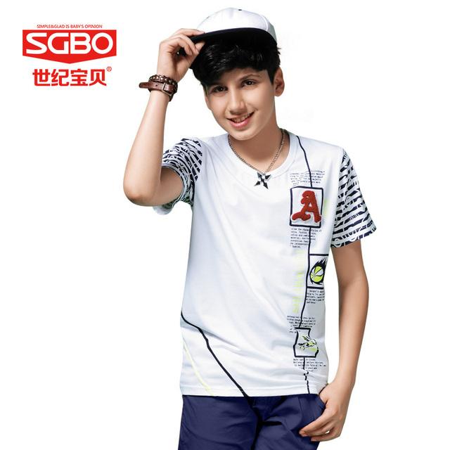 De moda 3D bordar letra T-shirt para el niño 11 12 13 14 años Kids Casual T-shirt muchachos del estilo del verano la ropa alrededor del cuello 6C3091