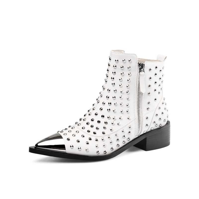 Móc Khóa thời trang Da Thật Chính Hãng Da Đinh Tán Xe Máy Mắt Cá Chân Giày Người Phụ Nữ Thương Hiệu Giày Nữ Xuân Thu Giày Sandals Nữ