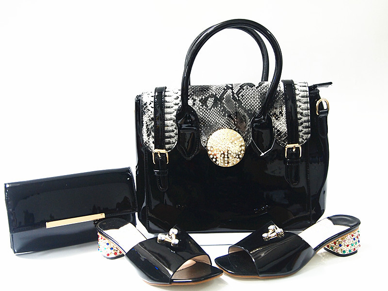 ФОТО  Italian Style PU Leather Slipper Shoes And HandBag Set High Quality Woman Low Heels Shoes And Shopping Bag Set For Party G9