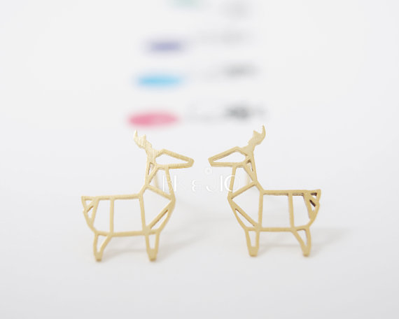Fashion Animal earings Copper Origami Deer Stud Earrings for Women Classic Small Deer Party Earrings for women Gifts  EY-E035
