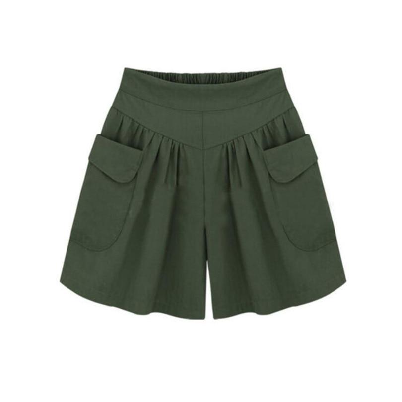 Nducjsi Women Elastic Waist Short Pants All-match Loose Solid Colors Soft Cotton Casual Short Femme Summer Street Fashion Shorts
