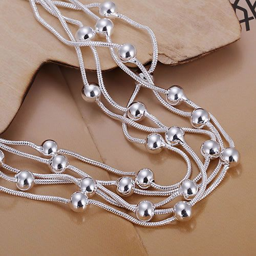H234 925 silver bracelet, 925 silver fashion jewelry Five Line Gloss Ball Bracelet /aztajraa awhajnoa 6