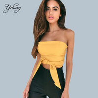 Yehury Summer 2017 Fashion Warpped Chest Cross Bandage Tops Sexy Femal Sleeveless Slim Tank Tops Backless