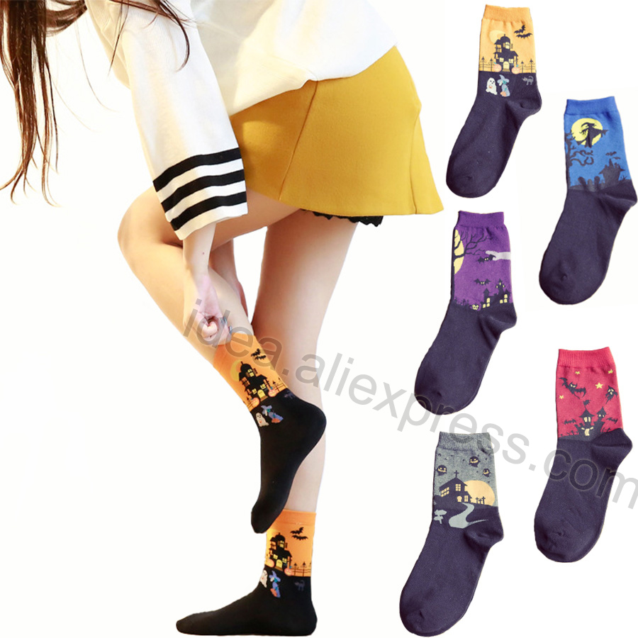 Halloween Gifts New Style High Quality Harajuku Hip Hop   Sock   Bat Pumpkin Devil Castle Witch Patterned Happy Christmas idea   Socks