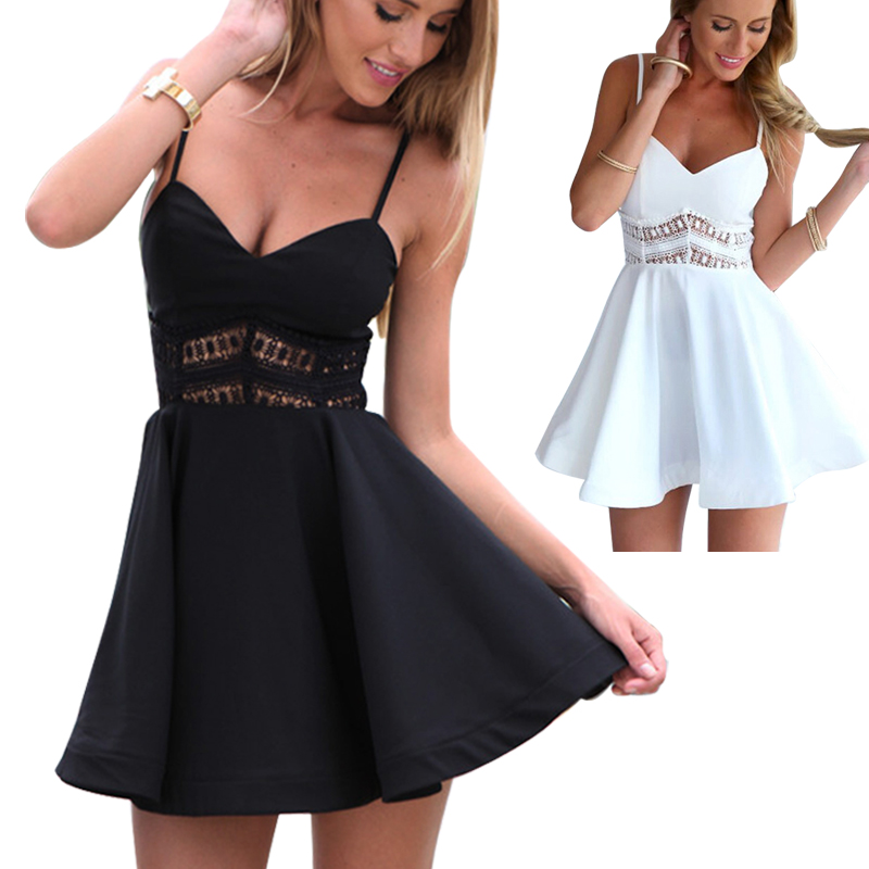 HTB1X140QVXXXXc7XFXXq6xXFXXXK - Lace Waist Skater Dress Party Mini Short Dresses PTC 168