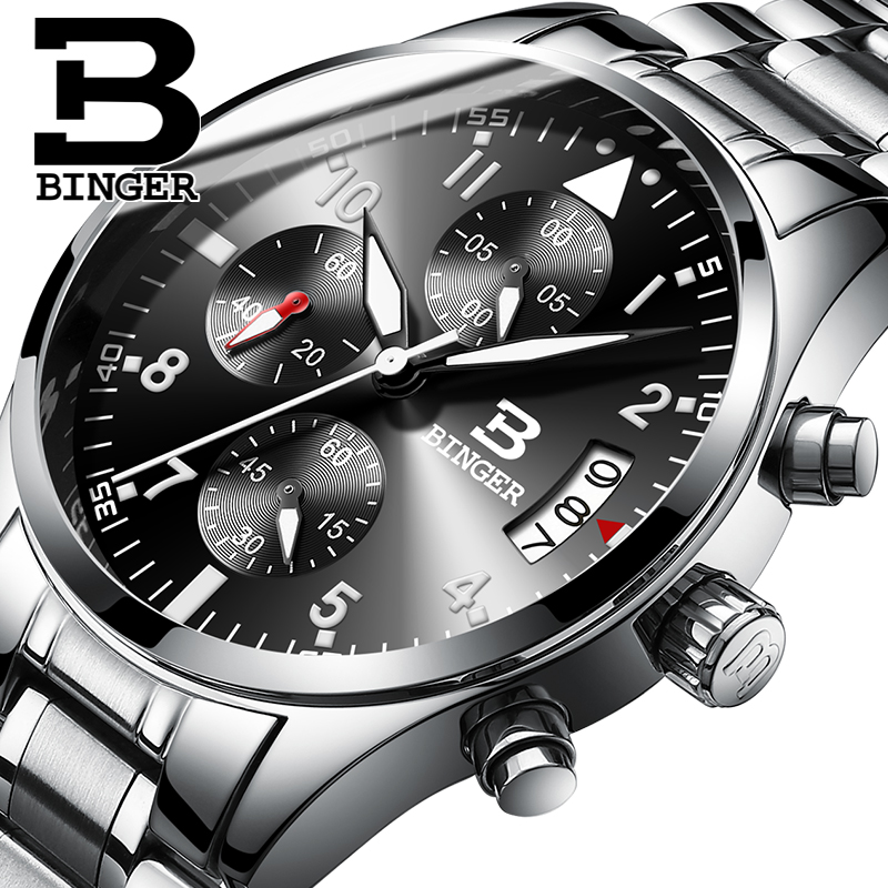 Switzerland Binger 2017 Men Watch Luxury Full Steel Quartz Clock Geneva Watch Army Military Sport Wristwatch relogio masculino geneva watches men 2017 binger fashion brand quartz clock army military sport watch digital wristwatches relogio masculino