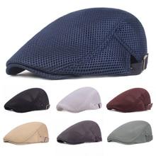 Унисекс, повседневный берет, плоская кепка, дышащая сетчатая шляпа, газетный стиль, регулируемая летняя модная однотонная черная шляпа для мужчин и женщин