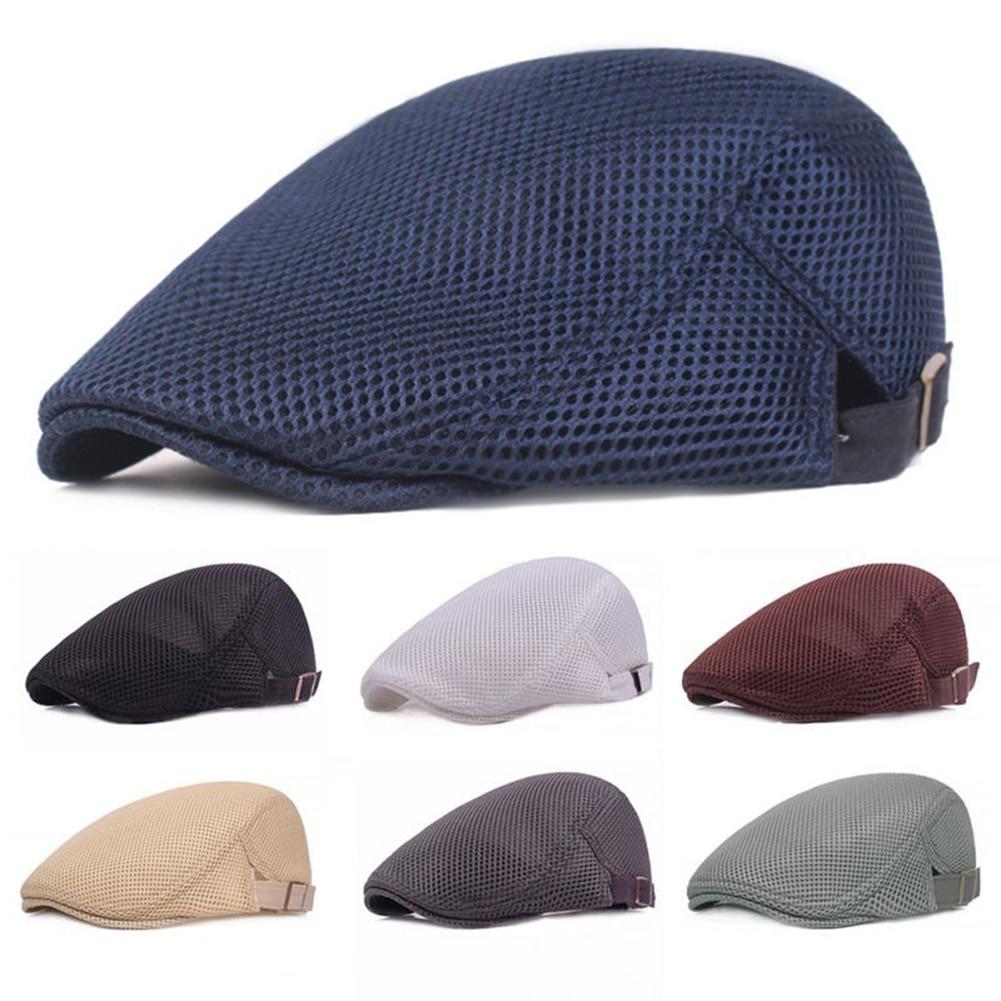 Unisex Casual Beret Hat Flat Cap Breathable Mesh Cap Newsboy Style Adjustable Summer Fashion Solid Color Black Hat For Men Women