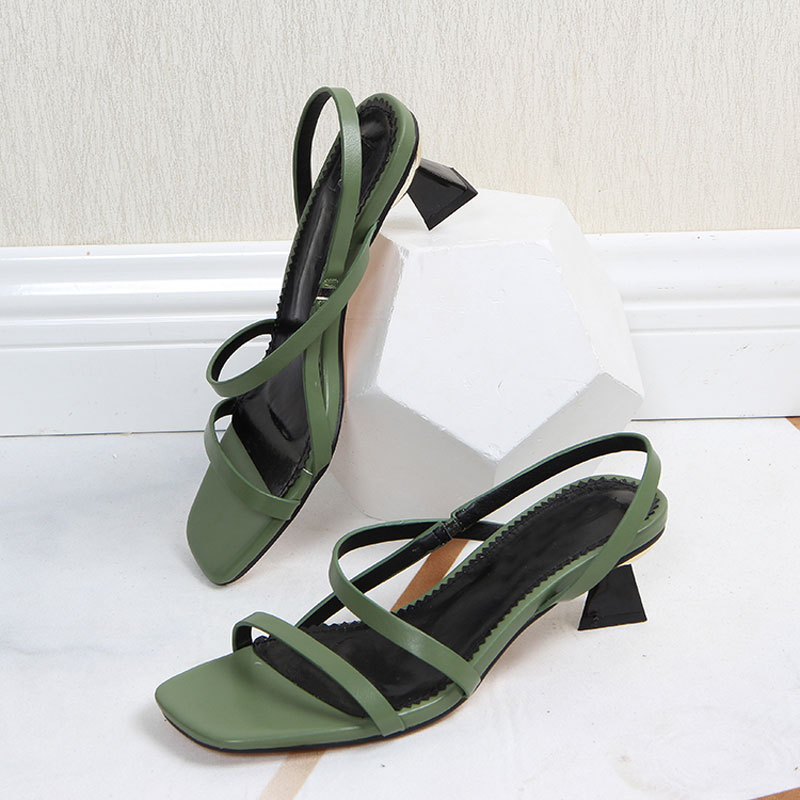 Bellinsley Green Sandals Shoes Square Toe High-Heels Summer Elegant on Slip Women Narrow-Band