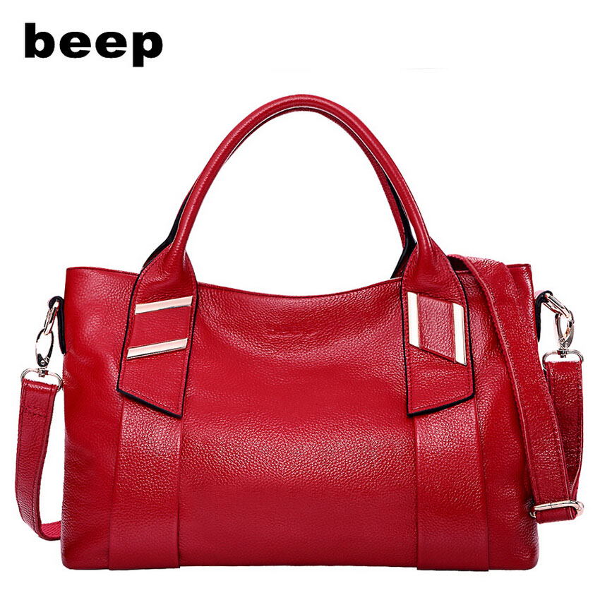 Beep Brand 2017 New Superior cowhide Leisure fashion Genuine Leather bag tote  women leather shoulder women's bag beep beep go to sleep