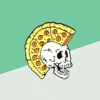 Gótico Pizza pelo cráneo broche de esqueleto amarillo Pizza pelo de la cabeza del cráneo pin con distintivo regalo para hombre y mujer Unisex joyería de esmalte