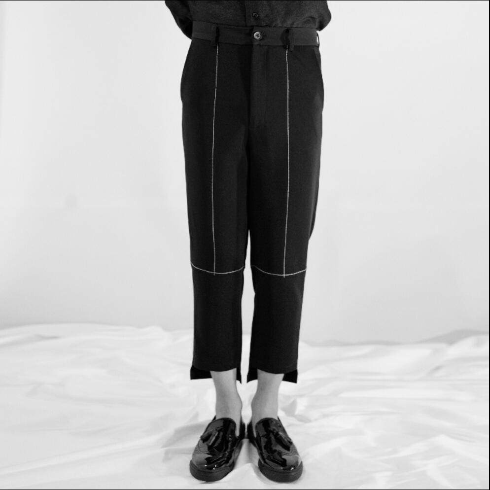 27-44 CHAUDE de 2019 Nouveaux Hommes décontracté pantalon irrégulier Mince Ligne Mince ligne blanche coiffeur marée neuf pantalon discothèque chanteur costumes