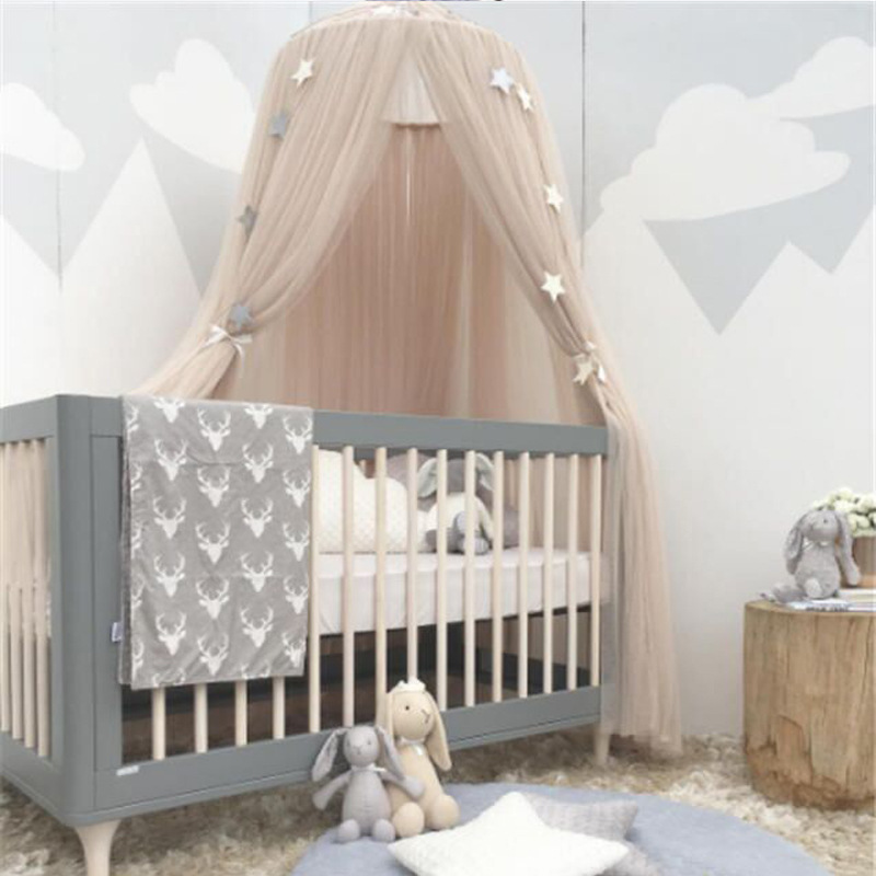 6 Colors Hanging Kids Baby Bedding Dome Bed Canopy Cotton