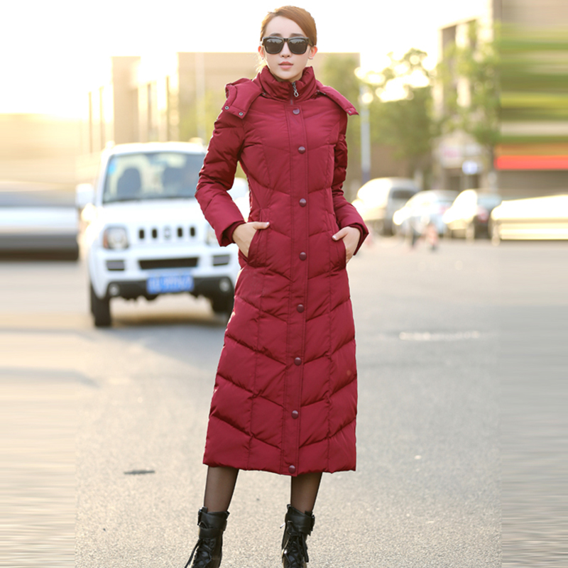 2016 fashion ultra long high quality duck over-the-knee ultra slim plus size thickening women winter down coat and jacket