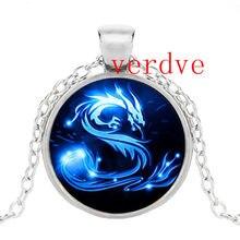 Collier Dragon bleu 3 couleurs, fait à la main en verre, bijoux de fantaisie dragon chinois avec Photo