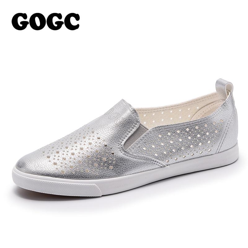 GOGC 2018 Slipony Frauen Loch Schuhe Damen Leder Schuhe Atmungsaktive Soft Frauen Wohnungen Schuhe Vulkanisierte Slip auf Frauen Turnschuhe