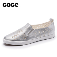 GOGC 2018 Slipony Women Hole Shoes Ladies Leather Shoes Breathable Soft Women Flats Shoes Vulcanized Slip