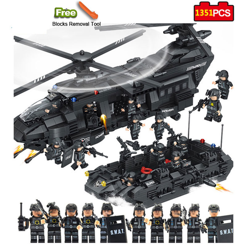 Military Series 1351pcs Model Building Blocks Kits SWAT Team Transport Helicopter City Police Toys for Children Kids Gift 111pcs children blocks toys police series helicopter blocks toys assembled model building kits educational diy toys for kids