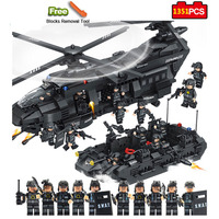 Military Series 1351pcs Model Building Blocks Kits SWAT Team Transport Helicopter City Police Toys for Children Kids Gift