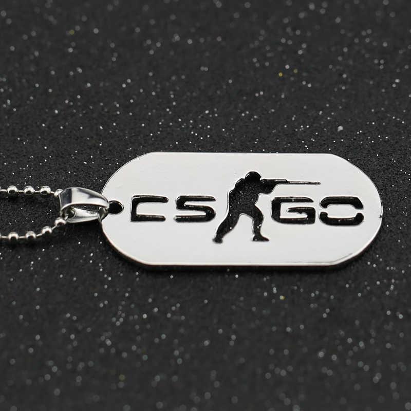 CS GO contador de collares Strike CSGO Logo perro etiqueta Color plata colgante moda nueva Declaración Acero inoxidable joyería hombres al por mayor