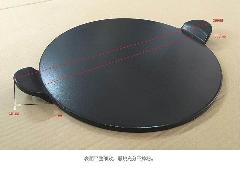 Alta qualidade preto esmalte pizza placa redonda refratário cerâmica isolamento placa de pedra pedras pizza pizza pan bakeware pizza ferramentas - 3