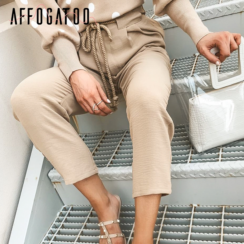 Affogatoo Casual khaki summer   pants   women Lace up pleated pocket   pants     capris   Solid plus size pencil office ladies work   pants
