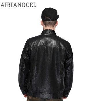 AIBIANOCEL Men's Faux Leather Coat PU Leather Jacket Men Fashion Male Clothing Leather Jacket LEATHER JACKET MAN Winter Clothes