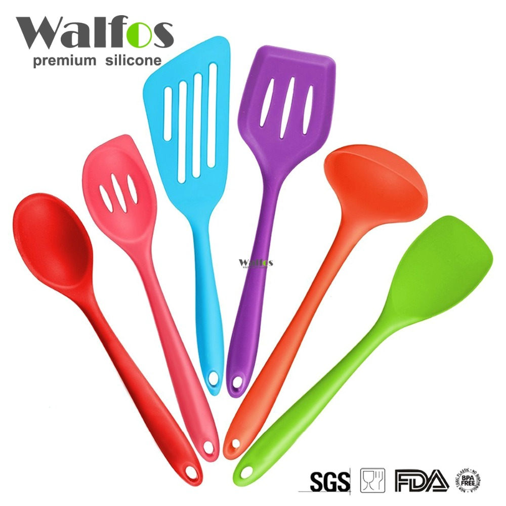 WALFOS Silicone Kitchen Utensils,6 Piece Cooking Utensil Set Spatula,Spoon Ladle,Spaghetti Server, Slotted Turner. Cooking Tools