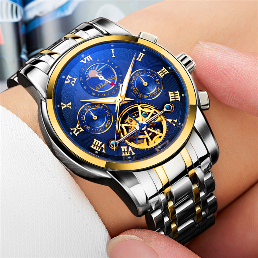 AILANG Luxury Brand Wrist Watch Sport Men Stainless Steel Tourbillion Mechanical Watches Cool Dress Watch Male Clock Gift Bo banbao