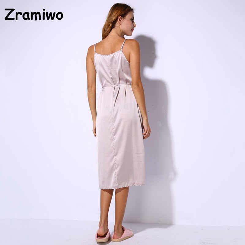963d32f7c4f7 ... Long Satin Nightgown Comfy Deep V Nightie Sexy A-Line Wrap Slip Split  Party Dresses ...