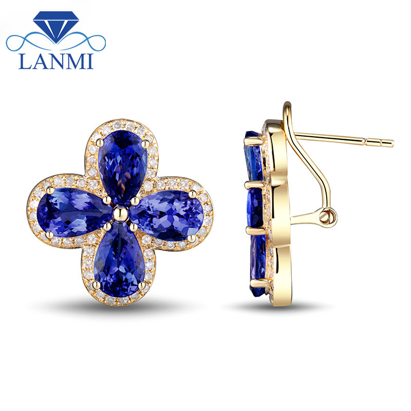 New Clover Tanzanite Earrings Pear 7x9mm Natural Diamond Young 14k Yellow Gold Gemstone Jewelry In From
