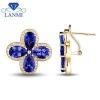 New Clover Tanzanite Earrings Pear 7x9mm Natural Tanzanite Diamond Young Girl Earrings 14k Yellow Gold Diamond Gemstone Jewelry