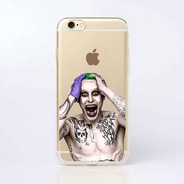 Suicide Squad Joker Harley Quinn Transparent Soft silicone TPU Phone Cases  Cover for iPhone 5 5S SE 6 6SPlus 7 7Plus 8 8Plus X 6319be06563