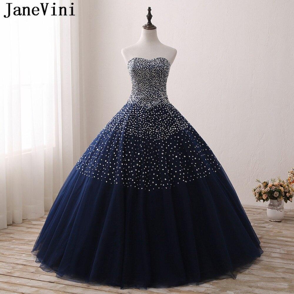 JaneVini étincelle bleu marine longues robes de Quinceanera robe de bal pour les filles chérie perles Tulle longueur de plancher Pageant robes de bal