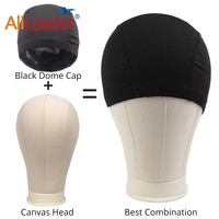 Canvas Block Training Manequin Manikin Head 21 25 Inch Black Spandex Dome Caps For Making Wig Glueless Breathable Mesh Caps
