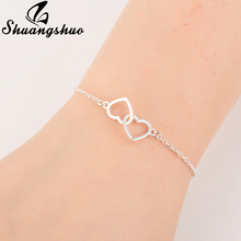 Shuangshuo Charm Heart Bracelets for Women Stainless Steel Bracelets Jewelry Double Heart Pendant bangles Femme Gifts