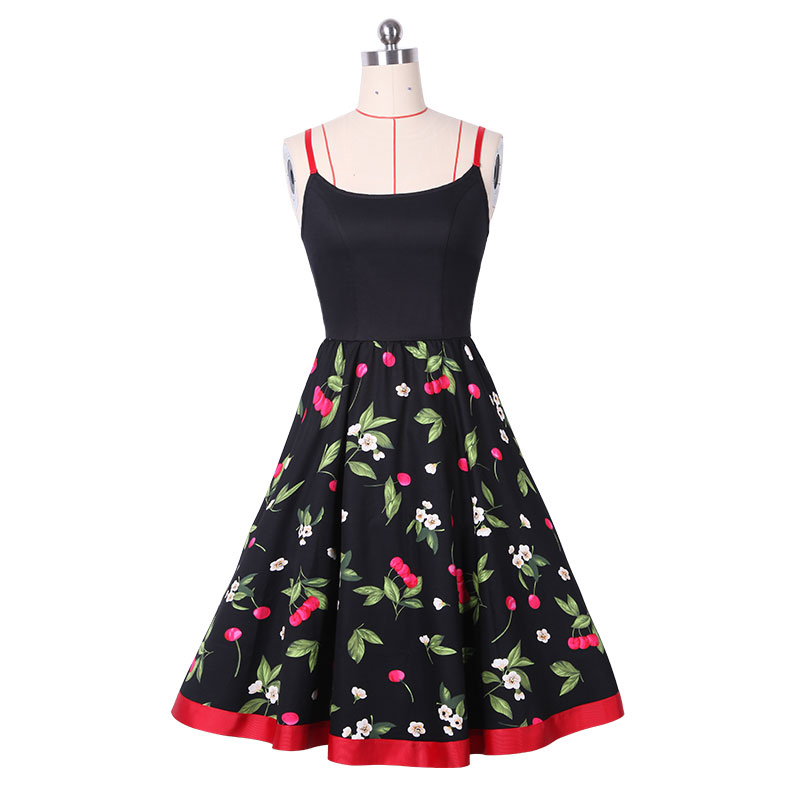 2017 floral cherry print vintage dresses style 1950s cute party dress summer dress sleeveless vintage dresses clothing