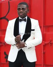 Terno Masculino Slim Fit 2018 New Fashion Custom Made 3 Pieces Set Prom Party Dress White Wedding Suit Tuxedo Groomsman Suit Men