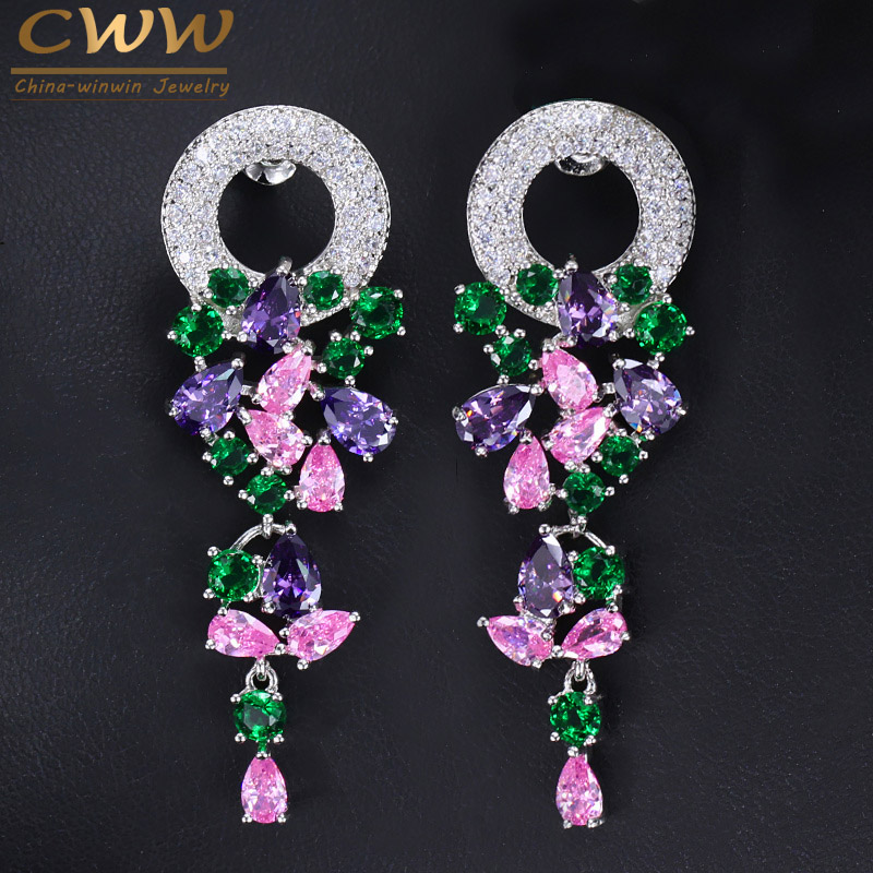 CWWZircons Fashion Laides Costume Jewelry Silver Color Beautiful Long Dangle Drop Multicolored CZ Earrings For Women CZ096
