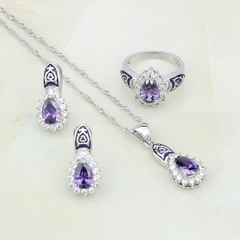 Jewelry-Sets Necklace/ring 925-Sterling-Silver Purple Cubic-Zirconia Women White CZ Party