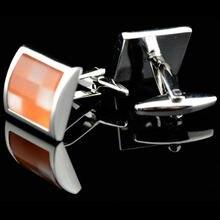 Мужские Запонки и Подарочная коробка оранжевые в решетку с изображением