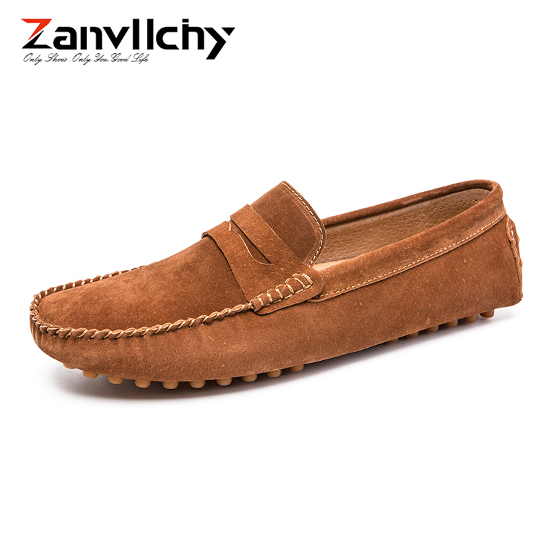 Big Size 38-47 Men Loafers Genuine Leather Mocassin Homme Suede Driving Shoes Casual Breathable Male Footwear Slip On Boat Shoes brand new fashion summer spring men driving shoes loafers pu leather boat shoes breathable male casual flats loafers big size