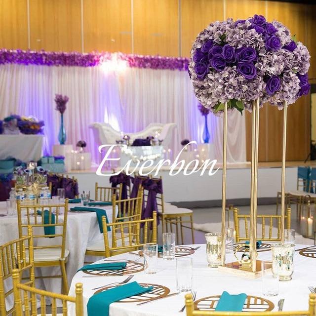 Wedding Flower Vase Metal Flower Stand Gold Flower Column