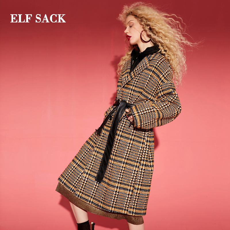 ELF SACK Winter New 22.1% Wool Jackets Woman Casual Long Full Turn-down Collar Woman Stylish Wool Coats Plaid Femme Jackets