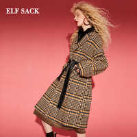 ELFSACK Winter New 22.1% Wool Jackets Woman Casual Long Full Turn-down Collar Woman Stylish Wool Coats Plaid Femme Jackets