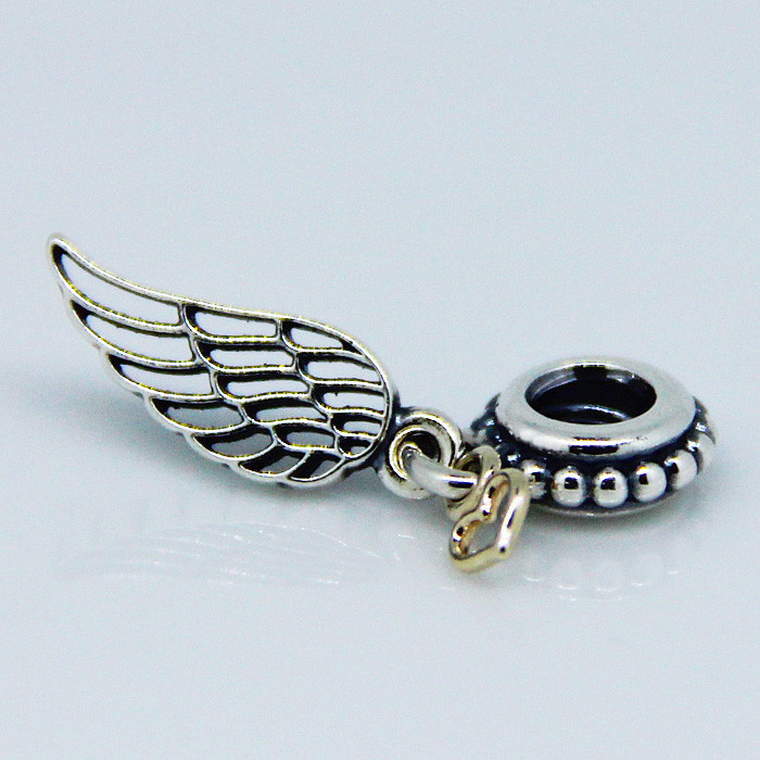 Compatible with Pandora Charms Bracelet DIY Beads Angel wing silver dangle with Gold Heart 925 Sterling Silver Jewelry
