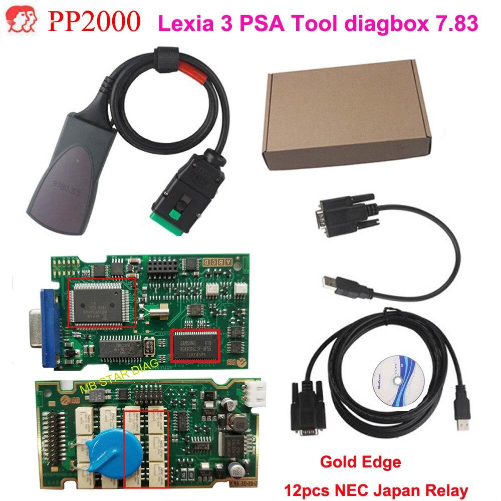 Hohe Qualität Gold PCB Lexia 3 Firmware 92185C diagbox V7.83 Lexia3 pp2000 OBD2 Diagnose Für C-itroen P- eugeot