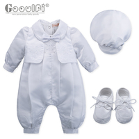 Gooulfi Baptism Outfits Cotton Baptism Dress Full Sleeves Toddler Newborn Clothes Gown Cross Patterns Baptism Outfits
