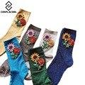 [Cosplacool] 2017 chegou estilo coreano inverno quente mulheres engraçado socksgem sun flower meias doce cor hand-made meias calcetines