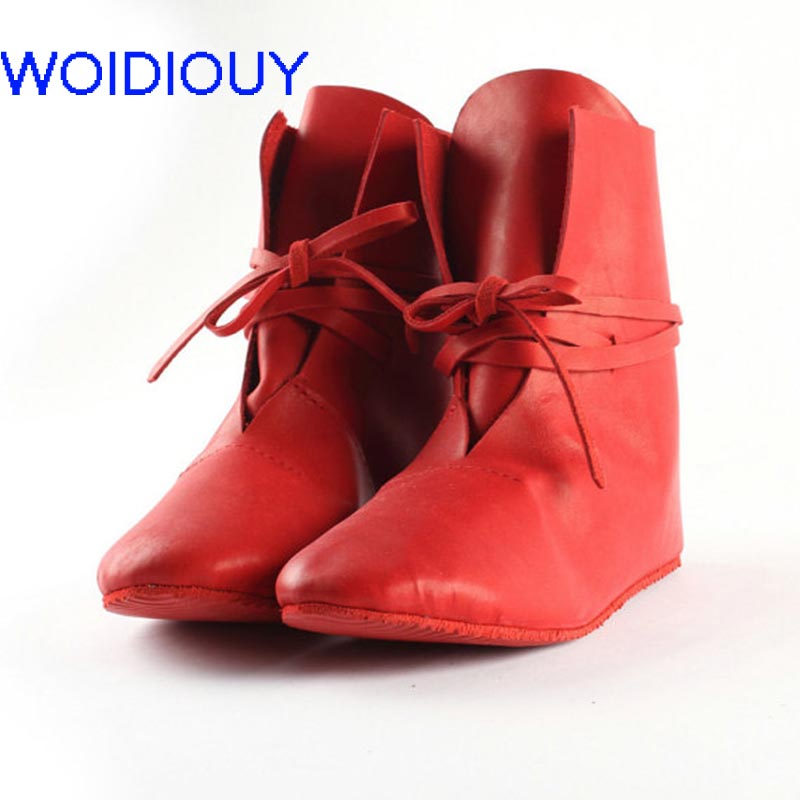 US $49.98 |Genuine Leather Women Boots Flat Booties Soft Handmade Real Leather Red Booties Cattle Leather Ethnic Shoes zapatos mujer in Ankle Boots